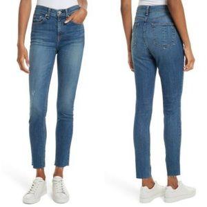 Rag & Bone High Rise Skinny Raw Hem Jeans